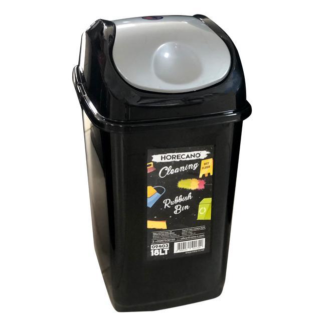 Пластмасов кош с люлеещ капак 50л черен със сив капак HORECANO-(09405)