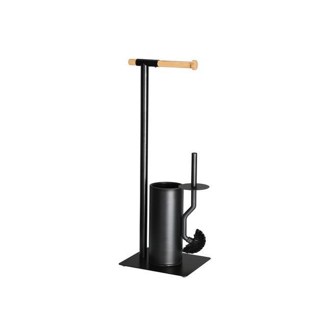 Метална стойка за тоалетна хартия и WC четка ЧЕРЕН МАТ 21x18xh67см G-(82747-001) - Horecano