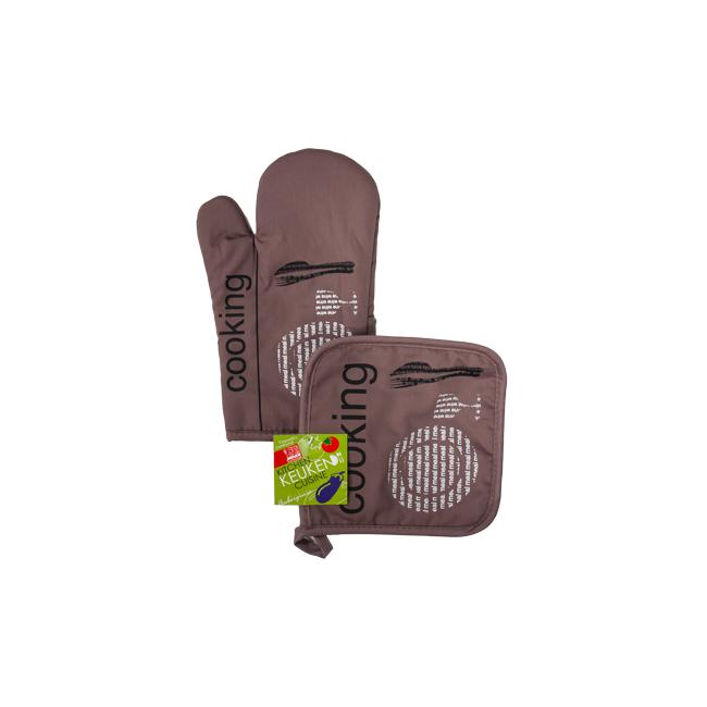 Текстилна ръкавица с ръкохватка комплект  кафяви (31028B) - Horecano