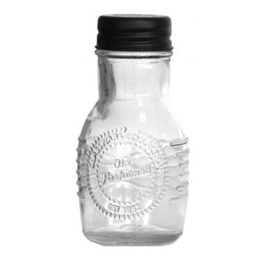 Стъклена солница  с метално черно  капаче  OLD FASHIONED-(212855-BL-LF) - Horecano
