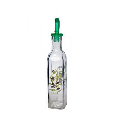 Стъклена бутилка квадратна с декор и наливник 250мл SC-(15-0002-AC)- Horecano