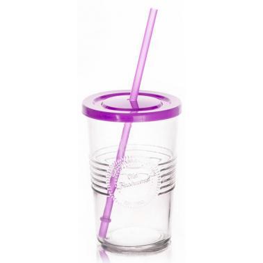 Стъклена чаша  с пластмасов капак и сламка лилава 590мл OLD FASHIONED- (212615D)  - Horecano