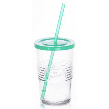 Стъклена чаша    с пластмасов капак и сламка зелена  590мл  OLD FASHIONED-(212615D)     - Horecano