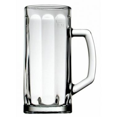 Стъклена халба 500мл оребрена