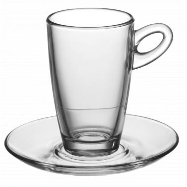 Стъклена чаша с чинийка за топли напитки 75мл  MOCCA ESPRESSO VM-1184000/1183000 - Vitrum