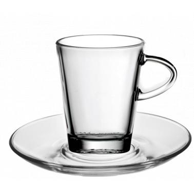 Стъклена чаша за топли напитки с чинийка 220мл - 2бр. BARCHETTA VM-1223001 - Vitrum