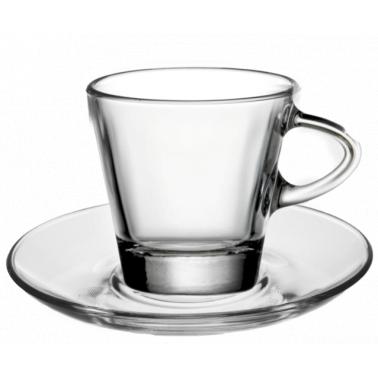 Стъклена чаша с чинийка за топли напитки 80мл BARCHETTA VM-1223020+1183000 - Vitrum