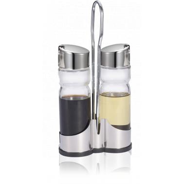 Стъклени бутилки за зехтин/оцет 2бр на стойка - с хромирани капачки CLASSIC LINE/ N-408 - Horecano