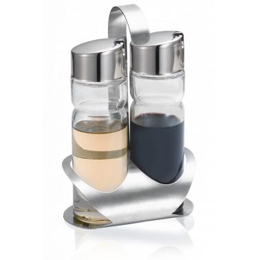 Стъклени бутилки за зехтин/оцет  2 броя на хромирана стойка LUX LINE/ N-415 - Horecano