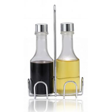 Стъклени бутилки за зехтин/оцет 2 броя на хромирана стойка EKO LINE/ N-8051