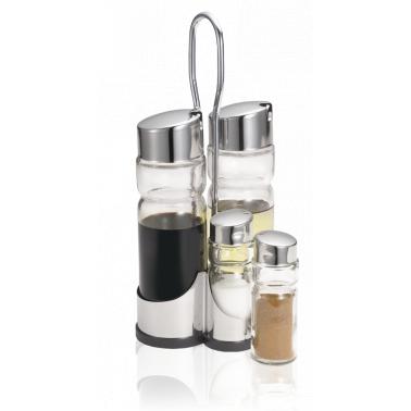 Стъклен оливерник комплект от 4 части на стойка - с хромирани капачки CLASSIC LINE /N-405 - Horecano