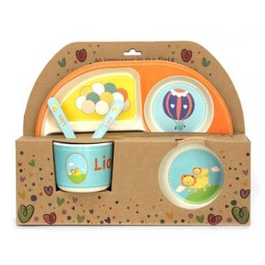 Детски сервиз за хранене от 5 части със заоблена четирисекционна чиния