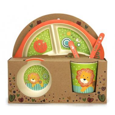 Детски сервиз за хранене от 5 части с кръгла трисекционна чиния
