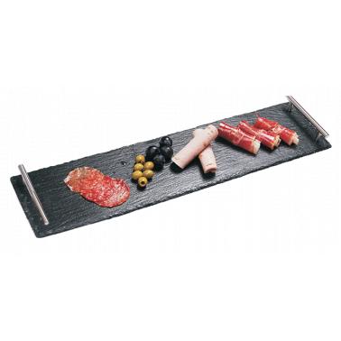 Каменна плоча за сервиране с дръжки правоъгълна 60x15xh0,5см (SL-TR-RE-SS-6015) - Horecano
