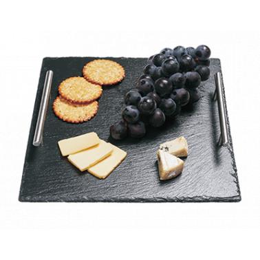 Каменна плоча за сервиране с дръжки квадратна 30x30xh0,5см   (SL-TR-SQ-SS-3030) - Horecano