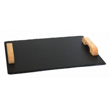 Каменна плоча за сервиране с дървени дръжки правоъгълна 43x25xh0,5см   (SL-TR-RE-WD-4325) - Horecano