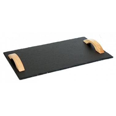 Каменна плоча за сервиране с дървени дръжки правоъгълна 30x40xh0,5см  (SL-TR-RE-WD-4030) - Horecano