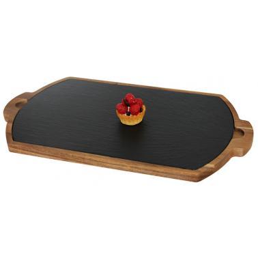 Дървена дъска за презентация с каменна плоча и дръжки 39.5х22см (плоча-32.5х19см) (SLWD-PL-RE-3922) - Horecano