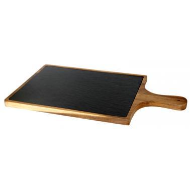 Дървена дъска  за презентация с дръжка и каменна плоча 25х45х1.5см (плоча-20х30см) (SLWD-PD-RE-4525) - Horecano