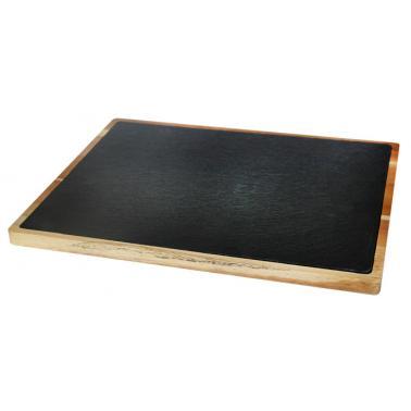 Дървена дъска  за презентация с каменна плоча правоъгълна 30х20х1.5см  (плоча-26х16см) (SLWD-PL-RE-3020) - Horecano