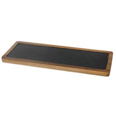 Дървена дъска  за презентация с каменна плоча продълговата 33.5х12х1.5см (плоча-31х9.5см) (SLWD-PL-RE-3312) - Horecano