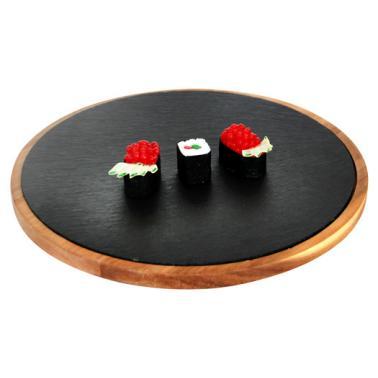Дървена дъска  за презентация с каменна плоча кръгла 32х1.5см (плоча-30см) (SLWD-PL-RD-32) - Horecano