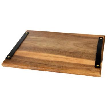 Дървена дъска (акация) за презентация правоъгълна с дръжки 38х23см (AW-PL-RE-3823) - Horecano