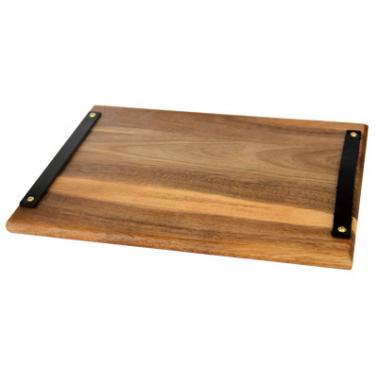 Дървена дъска (акация) за презентация правоъгълна с дръжки 31х23см (AW-PL-RE-3123) - Horecano