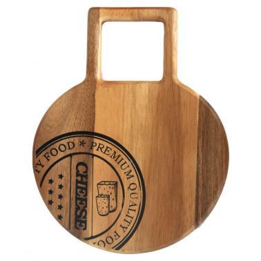 Дървена дъска (акация) за презентация кръгла с дръжка 40х30см  (AW-PL-IG-4030) - Horecano