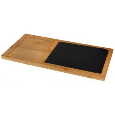 Бамбукова дъска за презентация с каменна плоча правоъгълна 38х18х1.5см (BA-PL-SL-3818) - Horecano