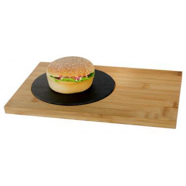 Бамбукова дъска за презентация правоъгълна 30х20х1.5см  с кръгла каменна плоча ф16см (BA-PL-SL-3020) - Horecano