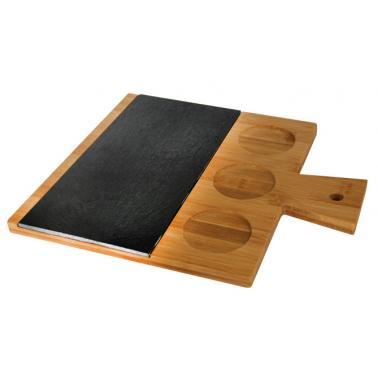 Бамбукова дъска за презентация правоъгълна 35х30х1.5см с каменна плоча 30х15см и дръжка (BA-PL-3530) - Horecano