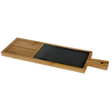 Бамбукова дъска за презентация с каменна плоча и дръжка продълговата 40х13х1.5см (BA-PL-SL-4013) - Horecano