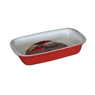Керамична тава  правоъгълна 34х22хh6см червено/бяло    CERUTIL-(P0761) (M)