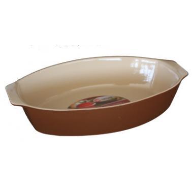 Керамична тава  овал с дръжки 28x17,5xh7см табако/крем  CERUTIL-(P0833)