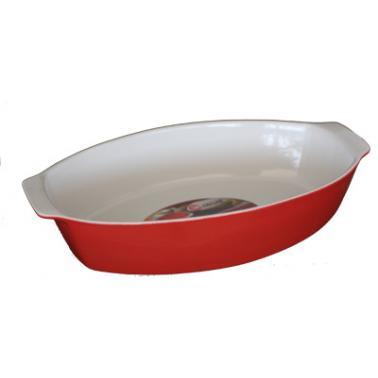Керамична тава  овал с дръжки 34х21хh7,5см червено/бяло   CERUTIL-(P0571)