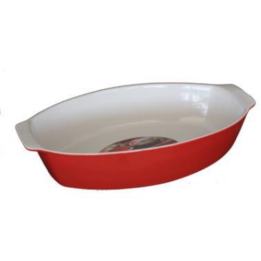 Керамична тава  овал с дръжки 38,5x25xh8см червено/бяло   CERUTIL-(P0537)