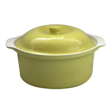 Керамична касерола  с капак 1,5л  21xh8,5см зелено/бяло   CERUTIL-(R0272/TR272)