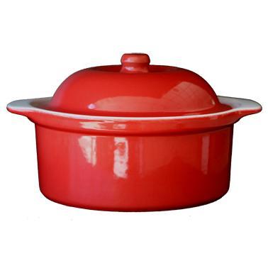 Керамична касерола  с капак 3л 26xh11см червено/бяло   CERUTIL-(R0292/TR292)