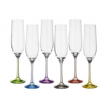 Стъклена чаша за шампанско 190млRAINBOW(40729)- Crystalex