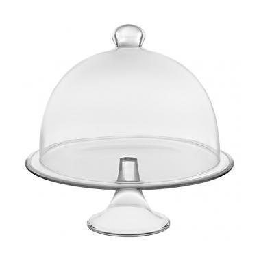 Стъклена поставка кръгла за сладки с купол 21xh22,5см  VIDIVI-BANQUET (67450M)