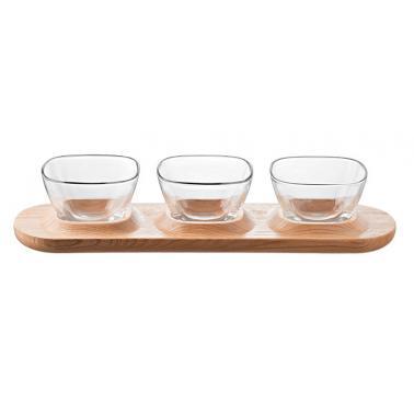 Комплект от три стъклени купички и дървено плато 38,5x11,5см VIDIVI-FENICE-(69163M)