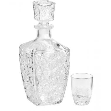 Стъклен комплектза ликьор от 7 части (бутилка/гарафа + 6 чаши) DEDALO-(2.26060) - Bormioli Rocco