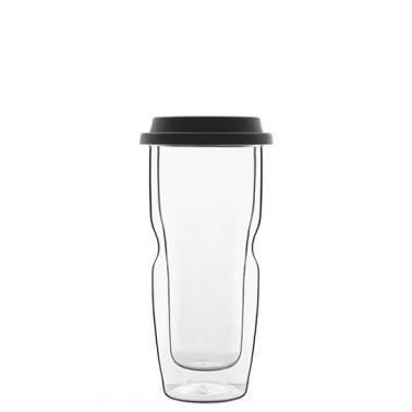 Стъклена двустенна термо чаша със силиконов капак 460млh19см DRINK&DESIGN-(12836/01) (RM 507)- Luigi Bormioli