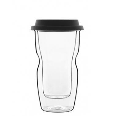 Стъклена двустенна термо чаша със силиконов капак 340мл h15см DRINK&DESIGN-(12837/01) (RM 508)- Luigi Bormioli
