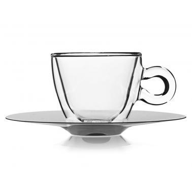 Стъклена двустенна чаша с метална чинийка 165млDRINK&DESIGN-(10086/01)- Luigi Bormioli