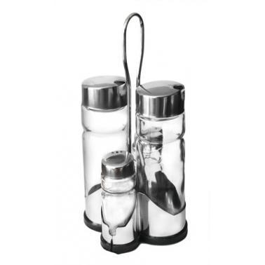 Стъклен оливерник от  5 части  на стойка хром/пластмаса  CONDIMENT SET (H3031) - Horecano