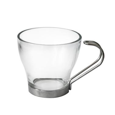 Стъклена чаша за еспресо  / топли напитки  с метална дръжка-100мл - 3бр COK (158-K1002)BOMBON