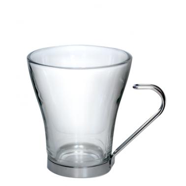 Стъклена чаша за капучино  / топли напитки с метална дръжка-230мл - 3бр COK (158-K1001)BOMBON