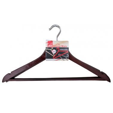 Дървени закачалки за дрехи  44x23x1,2см. 3бр. цвят венге (P 66 / B) - Horecano
